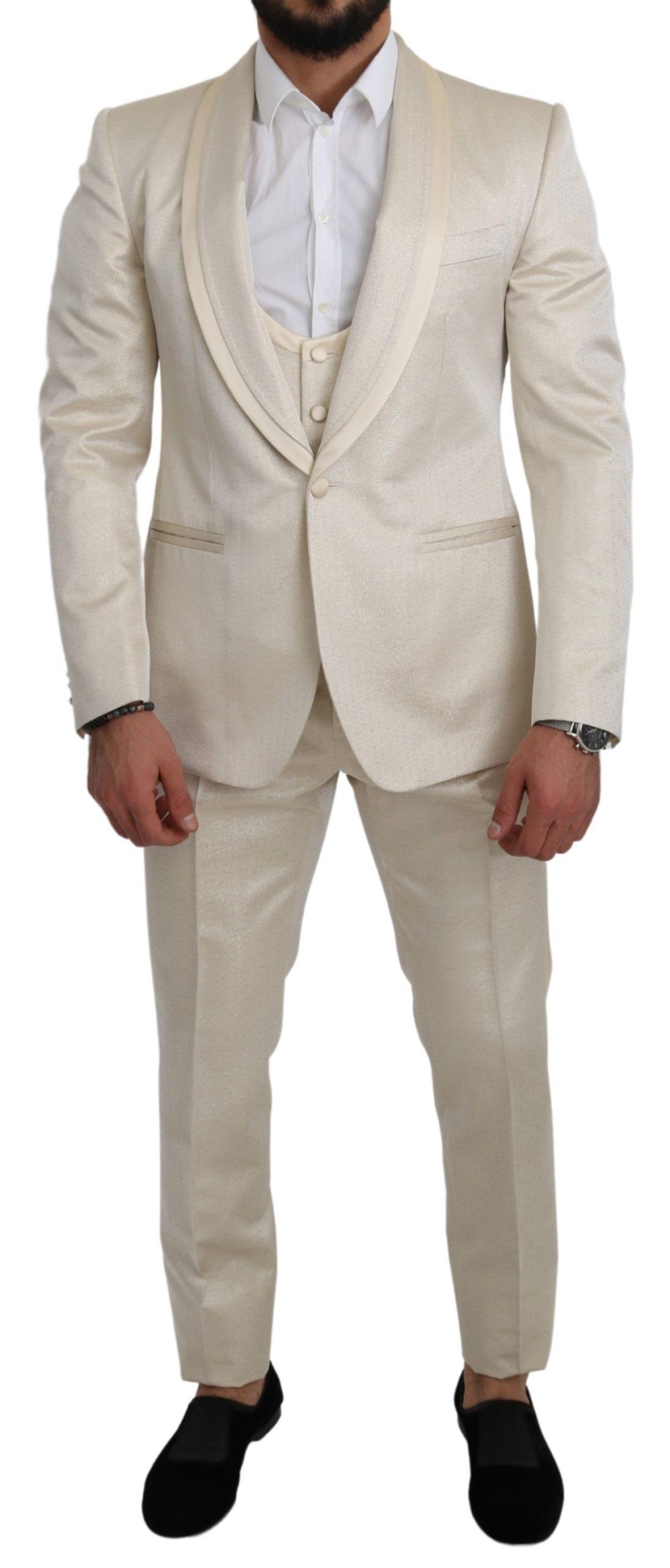 Dolce & Gabbana Men's Crème 3 Piece SICILIA Shawl Wool Suit White KOS1801 - IT50 | L