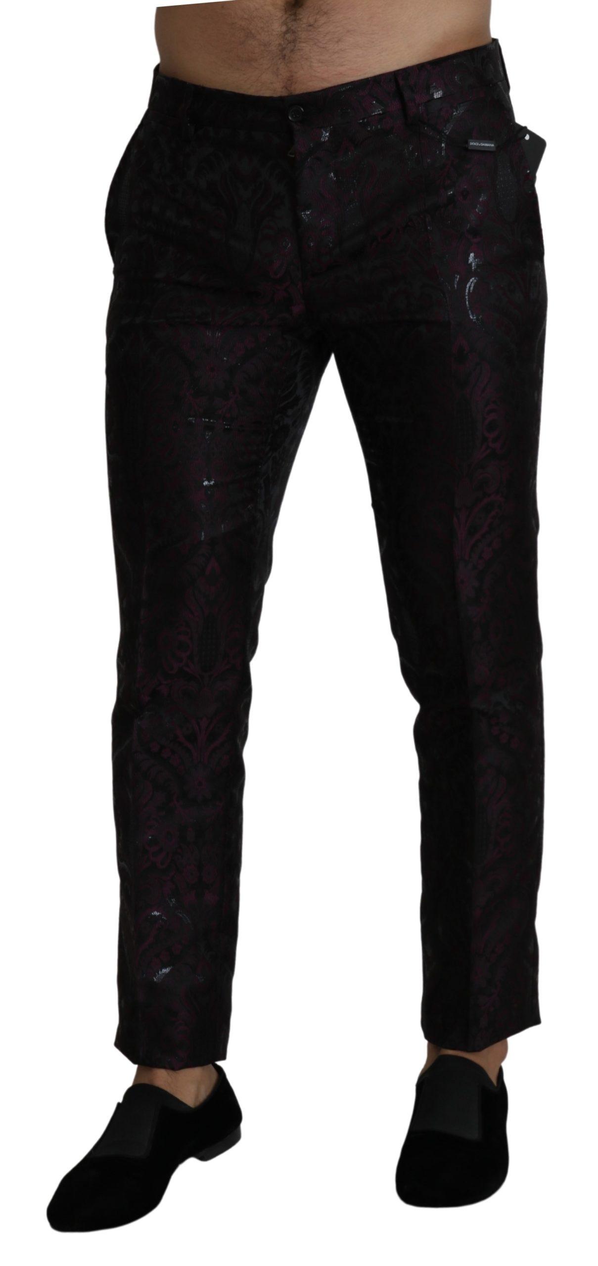 Dolce & Gabbana Men's Jacquard Dress Slim Trouser Bordeaux PAN71399 - IT48 | M