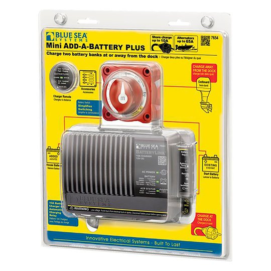 Blue Sea batteriladdare med laddningsrelä inkl. huvudströmbrytare