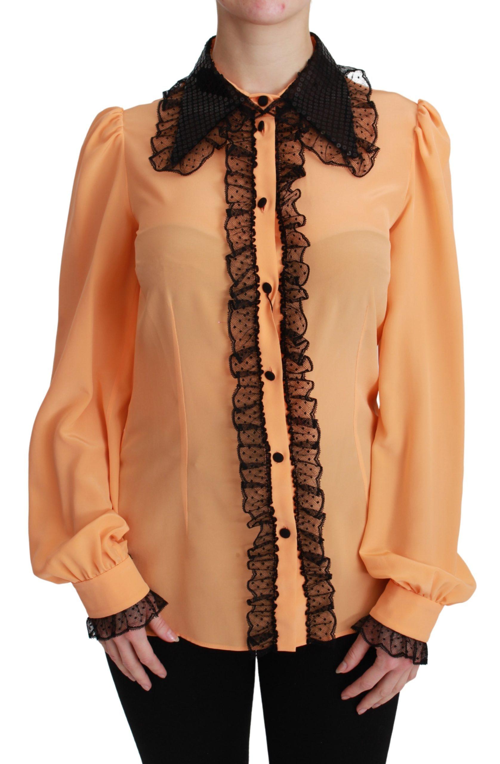 Dolce & Gabbana Women's Silk Sequin Lace Shirt Yellow TSH4662 - IT38   S
