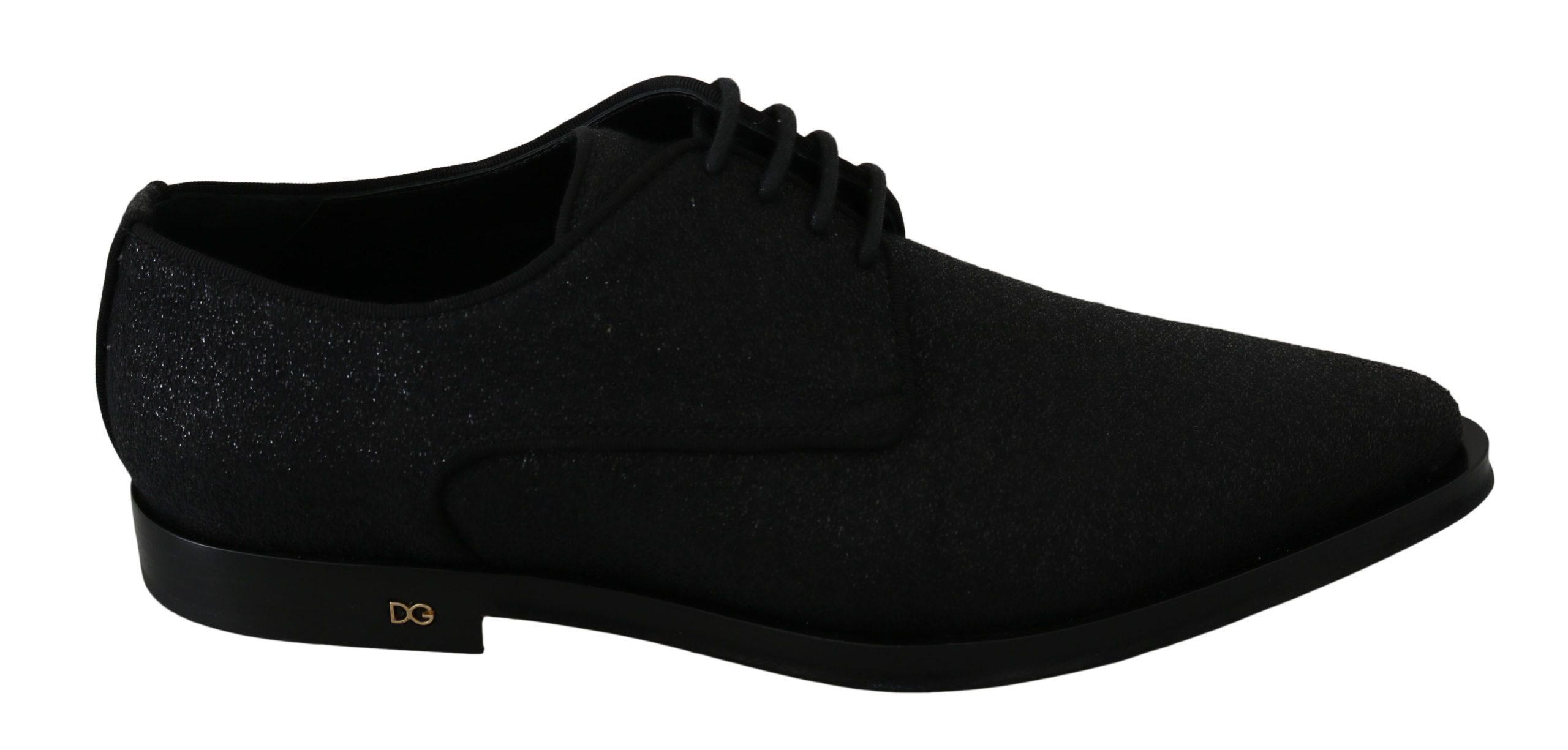 Dolce & Gabbana Women's Glittered Lace Up Leather Flats Black LA7463 - EU39/US8.5