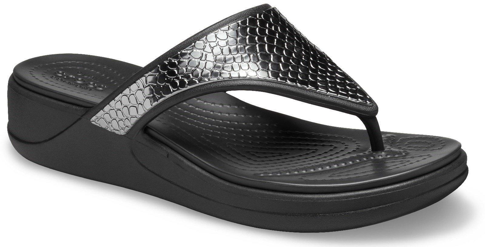 Crocs Women's Monterey Metallic Wedge Flip Flop Multicolor 30614 - Charcoal/Black 4