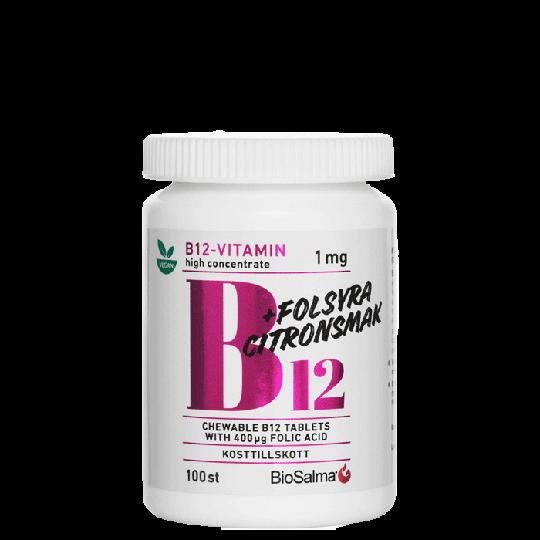 B12 Vitamin 1mg + Folsyra, 100 tabletter