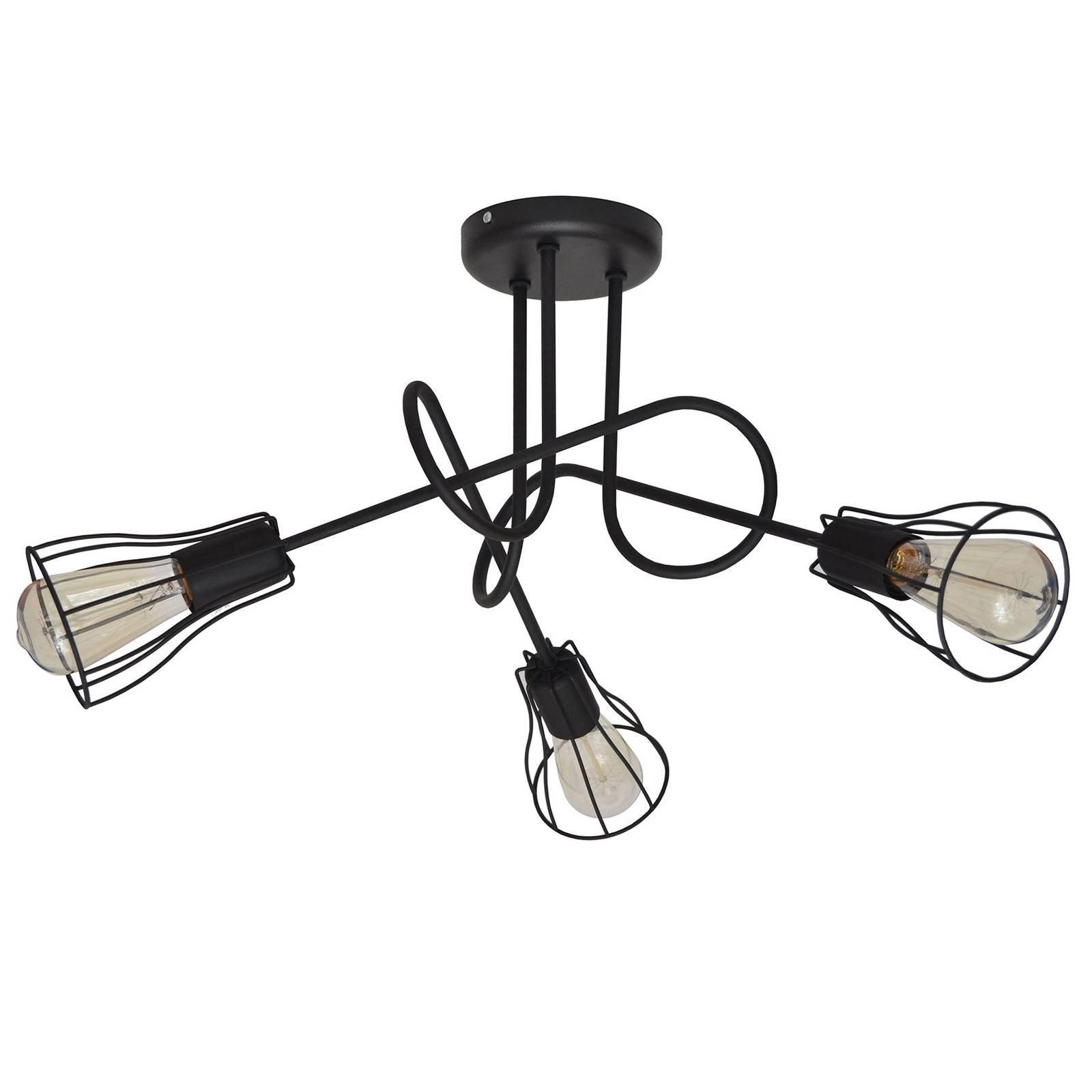 Taklampe Oxford, 3 lyskilder med burskjermer svart