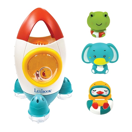 Lexibook - Space rocket bath toy set with 3 squeezable animals (ITBSPC)