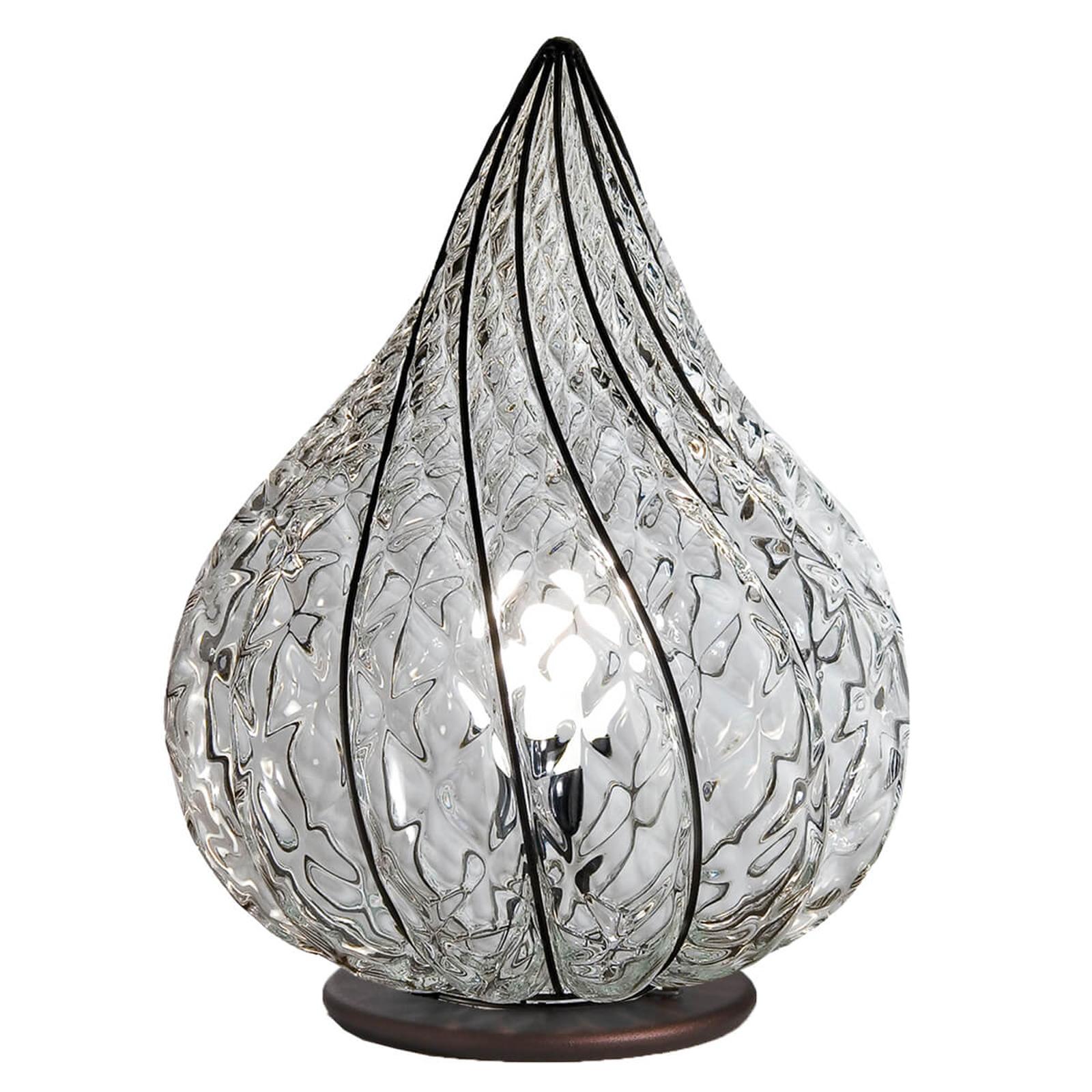 Pöytälamppu Goccia, käsin tehty, kirkas