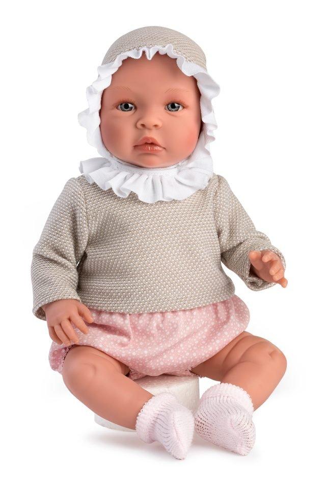 Asi dolls - Leonora baby doll in pink flowerprint panties and beige sweater