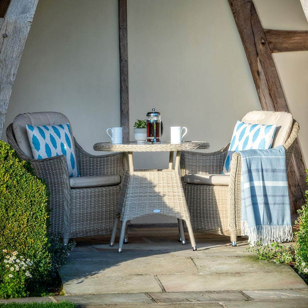 2021 Bramblecrest Monterey Garden Bistro Set With Glass Coffee Table - Sandstone