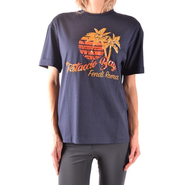 Fendi Women's T-Shirt Blue 164243 - blue XS
