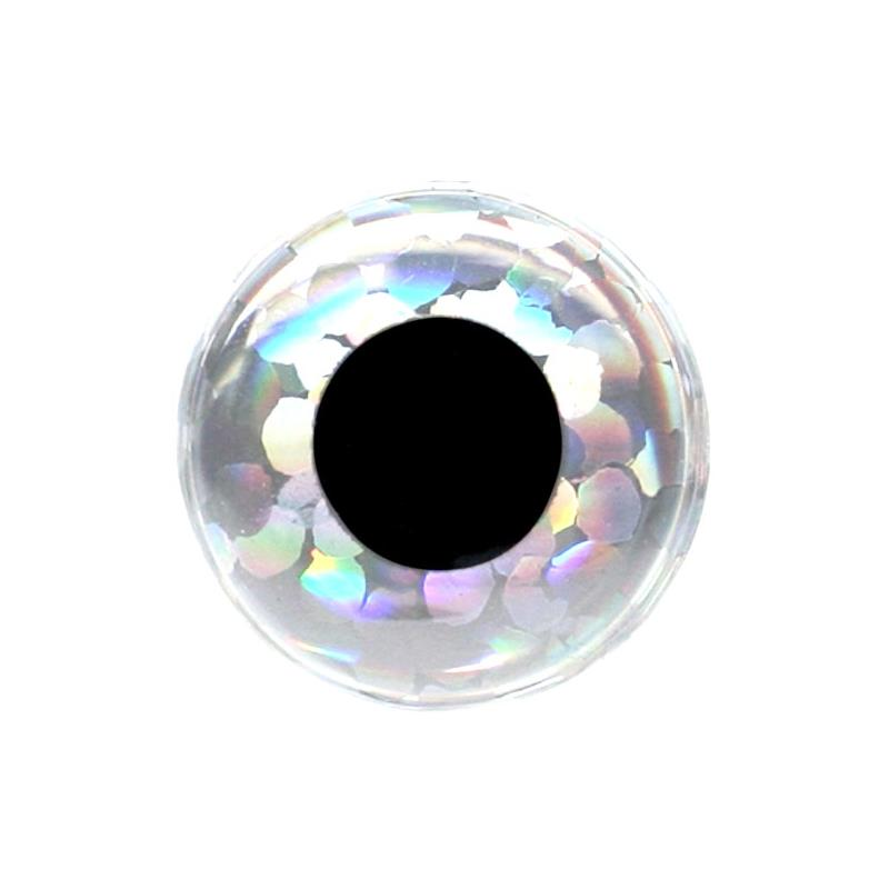 3D Epoxy Eyes - Holo Silver 6mm 20stk Wapsi