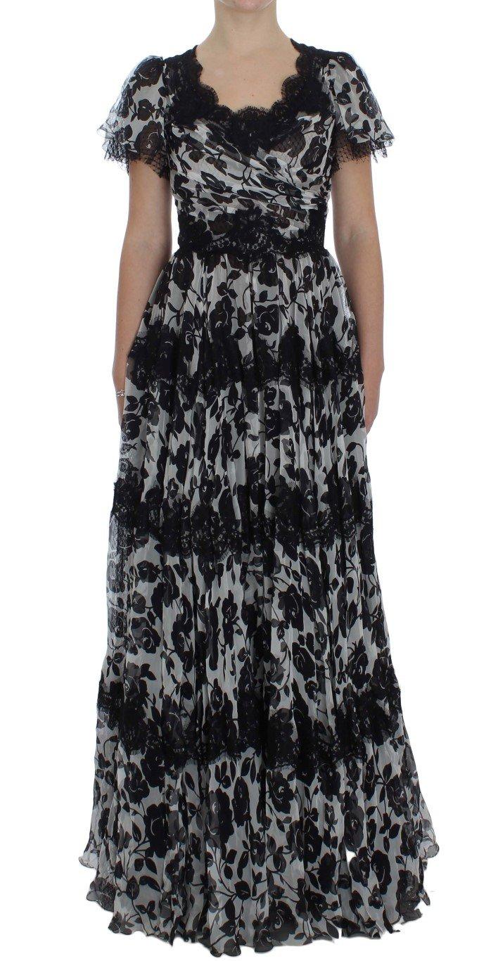 Dolce & Gabbana Women's Silk Floral Lace Ricamo Dress Black NOC10091 - IT42 M