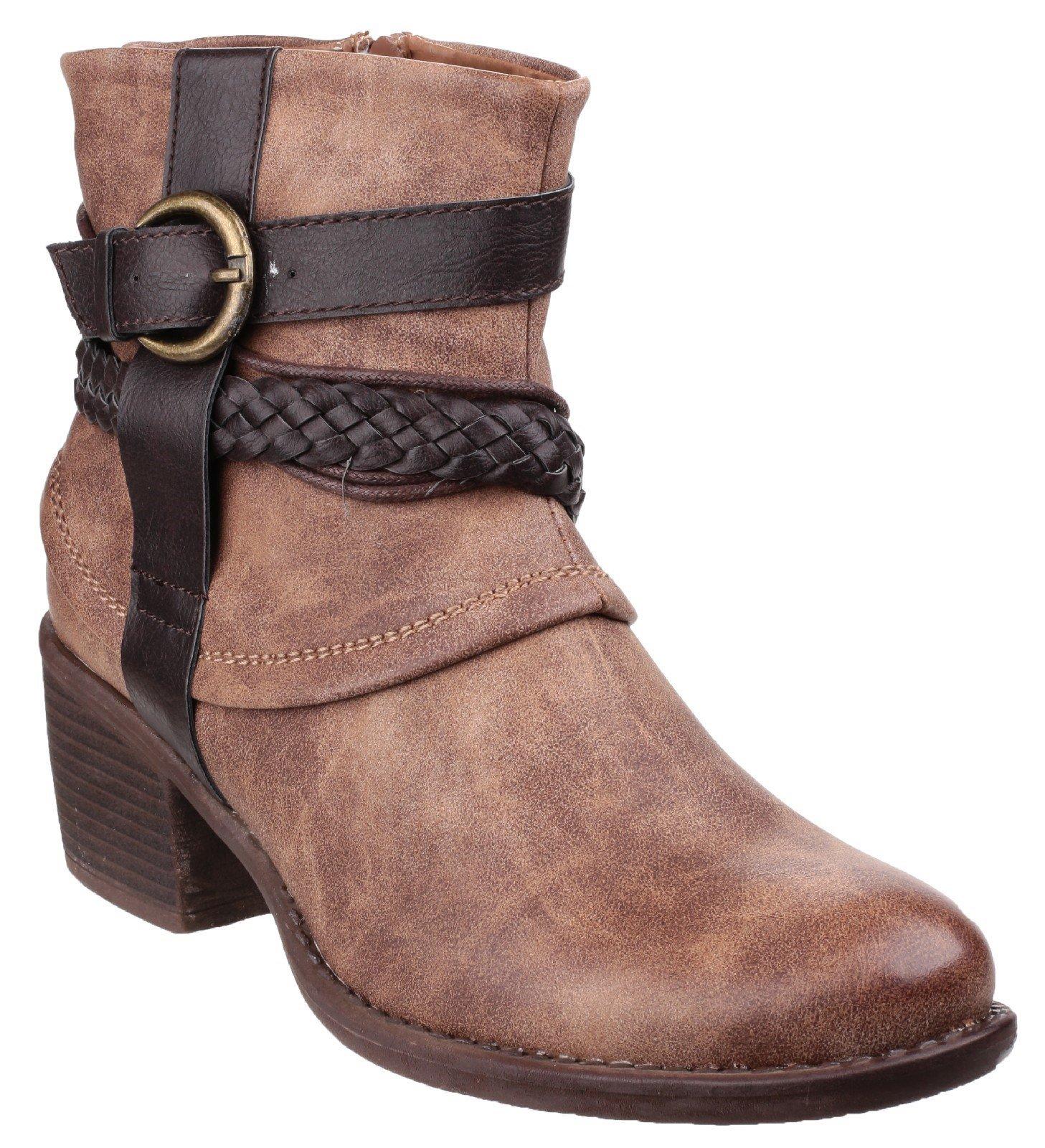 Divaz Women's Vado Zip Up Ankle Boot Brown 22807-37232 - Tan 3