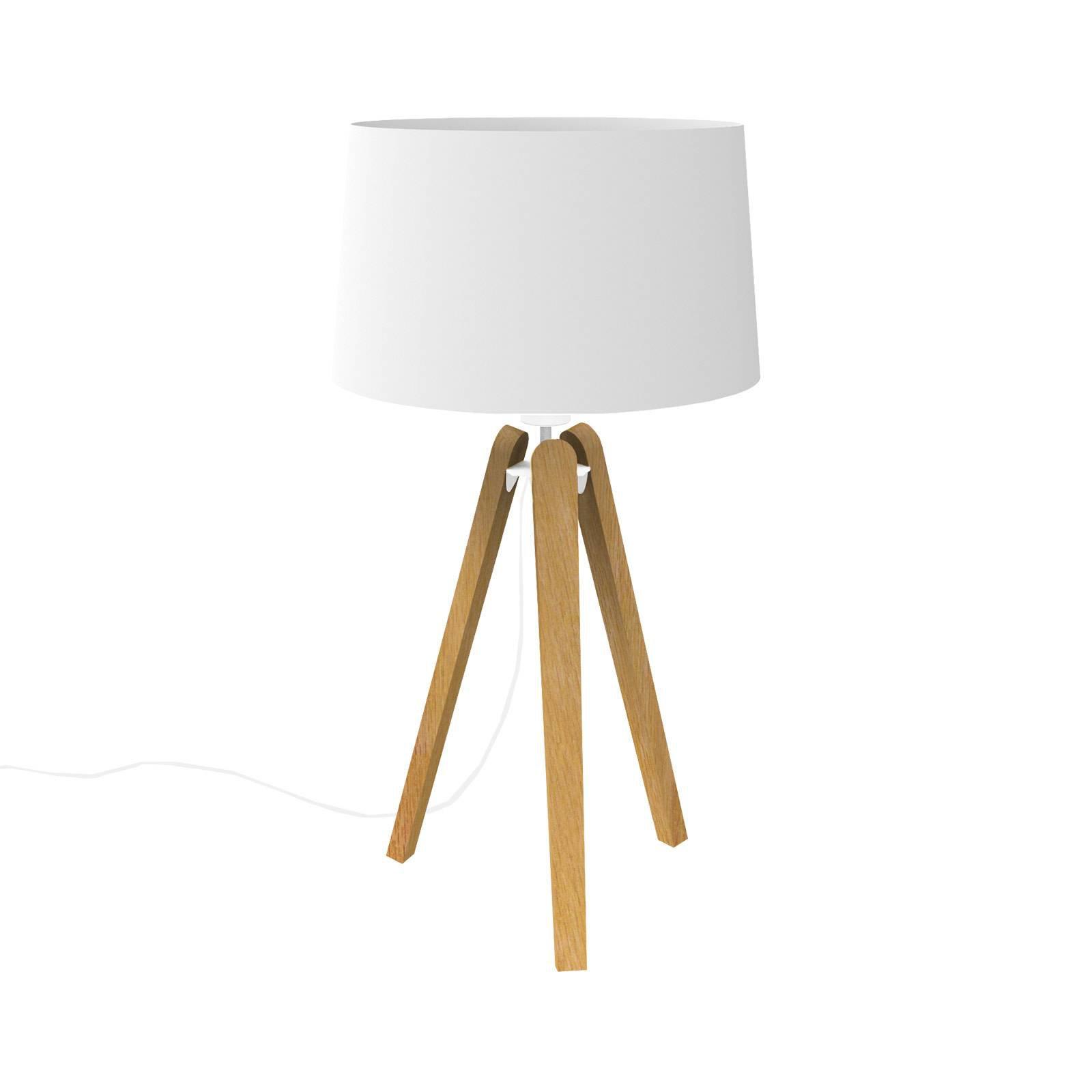 Essence LT bordlampe i tre og tekstil, hvit