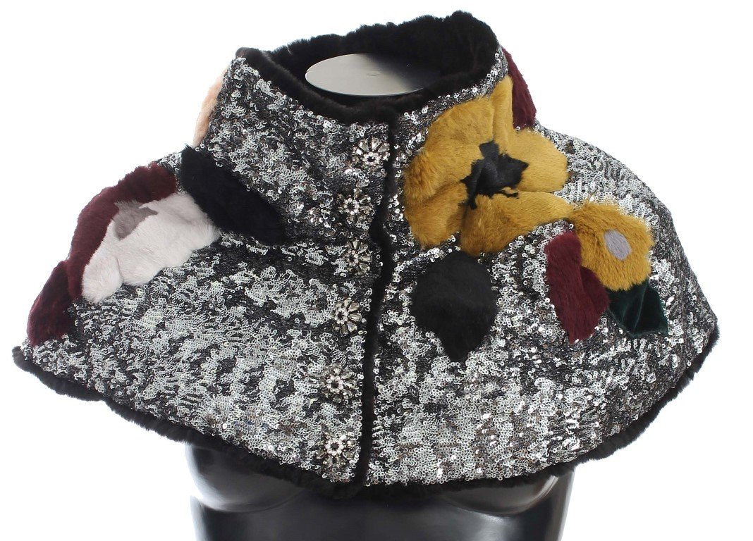 Dolce & Gabbana Women's Sequined Floral Weasel Scarf Multicolor MS780 - IT42|M