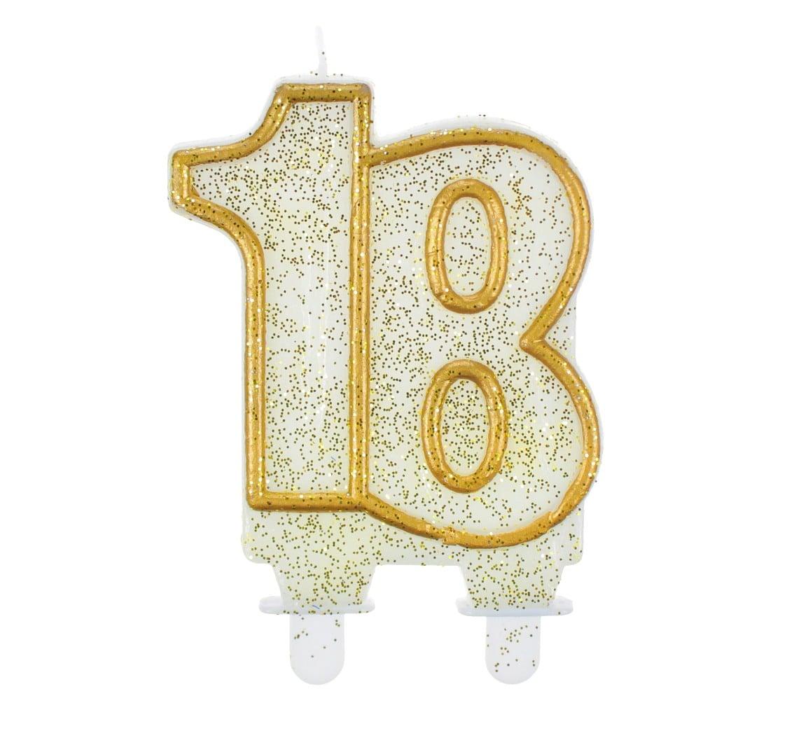 Tårtljus guldglitter 18 år