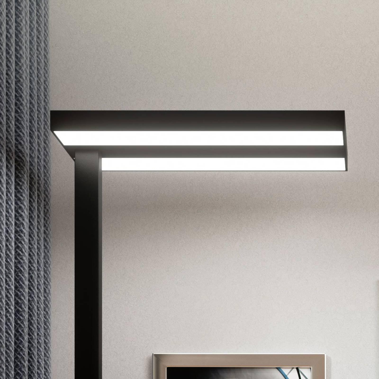 LED-gulvlampe Logan i svart til kontoret, dimbar