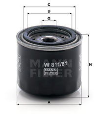 Öljynsuodatin MANN-FILTER W 811/81