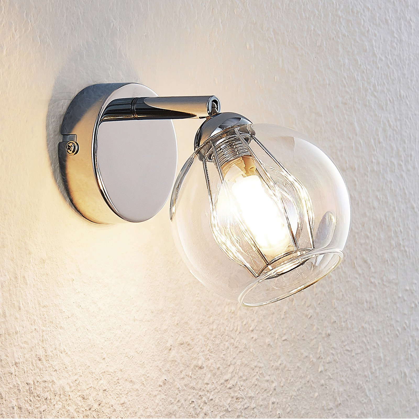 Lindby Pranas LED-veggspot med glasskjerm