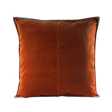 Putevar Cognac Striped Edge Velvet 50 x 50 cm