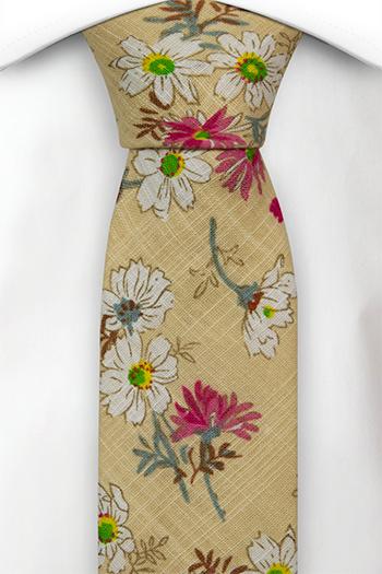 Bomull Smale Slips, Hvite & rosa blomster på gulbeige base, Beige, Blomstrete