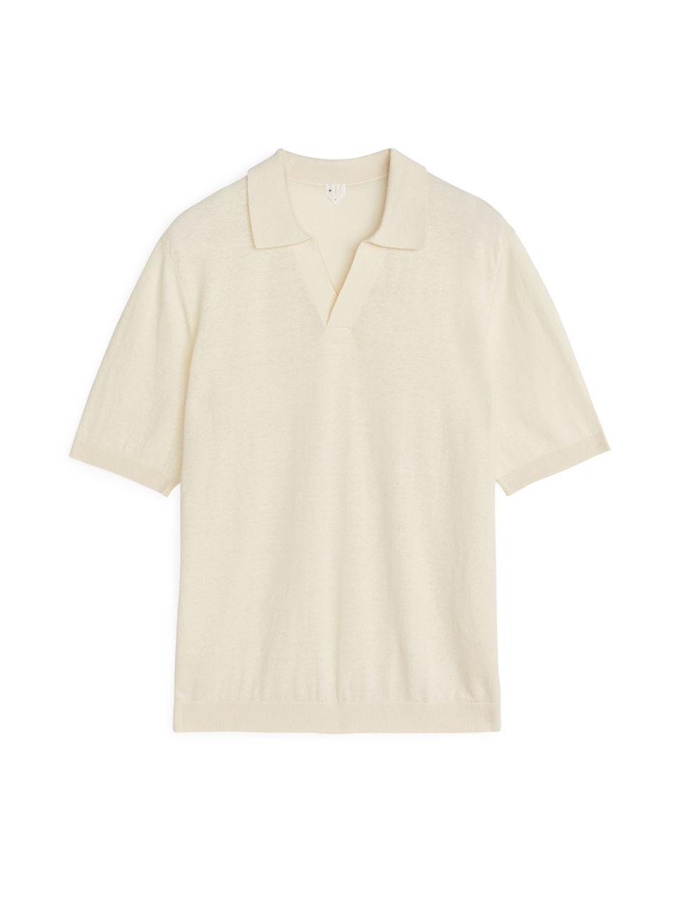 Cotton Linen Polo Shirt - Orange