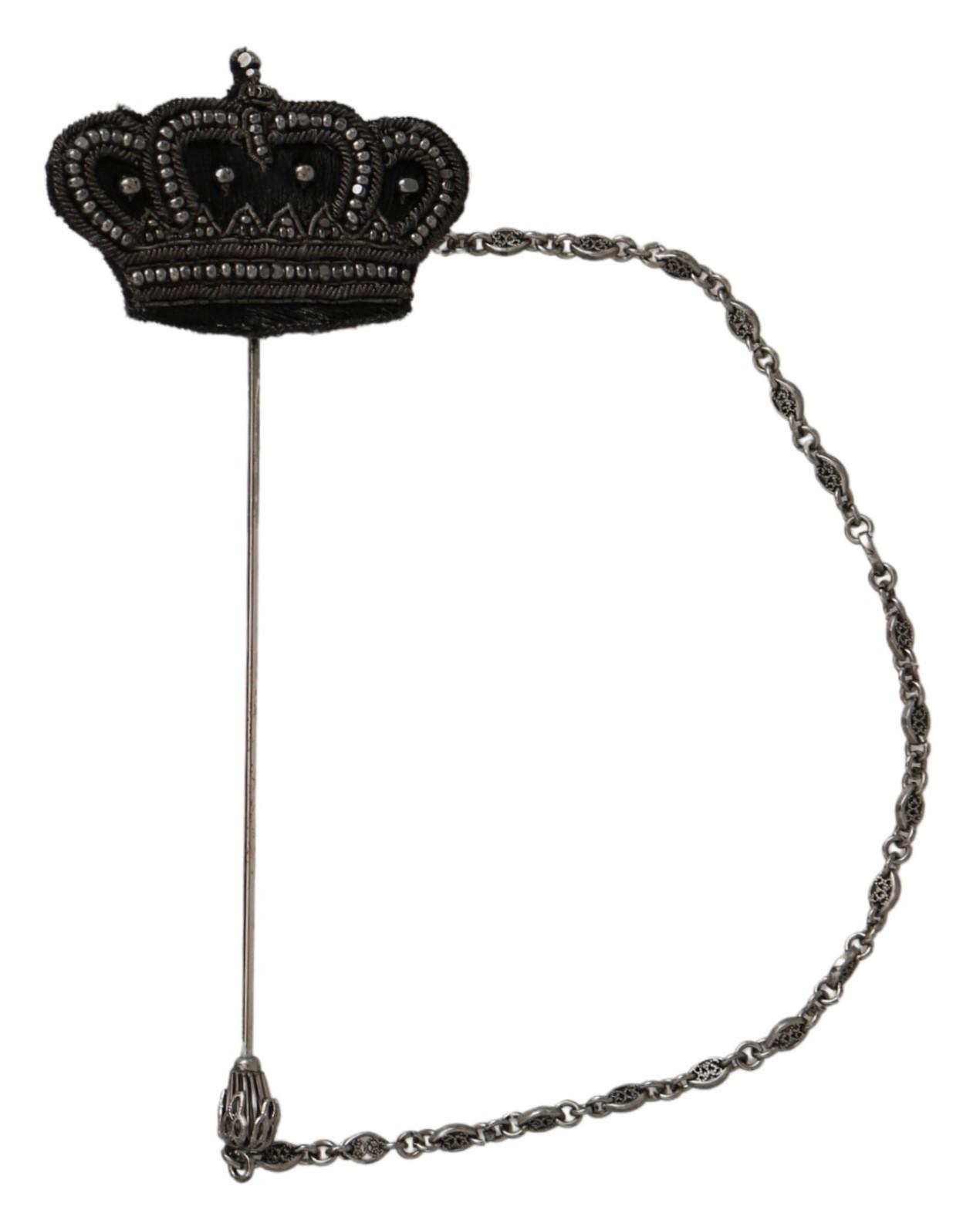 Dolce & Gabbana Women's Crown Beaded Brooch Silver SMY100190