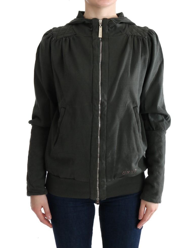 Exte Women's Hooded Cotton Zipper Sweater Gray SIG30145 - IT40|S