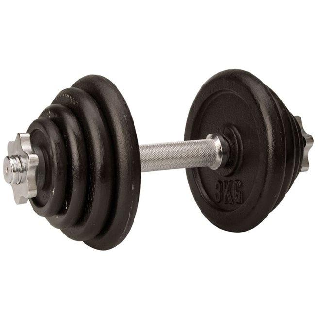 vidaXL Hantel 15 kg svart