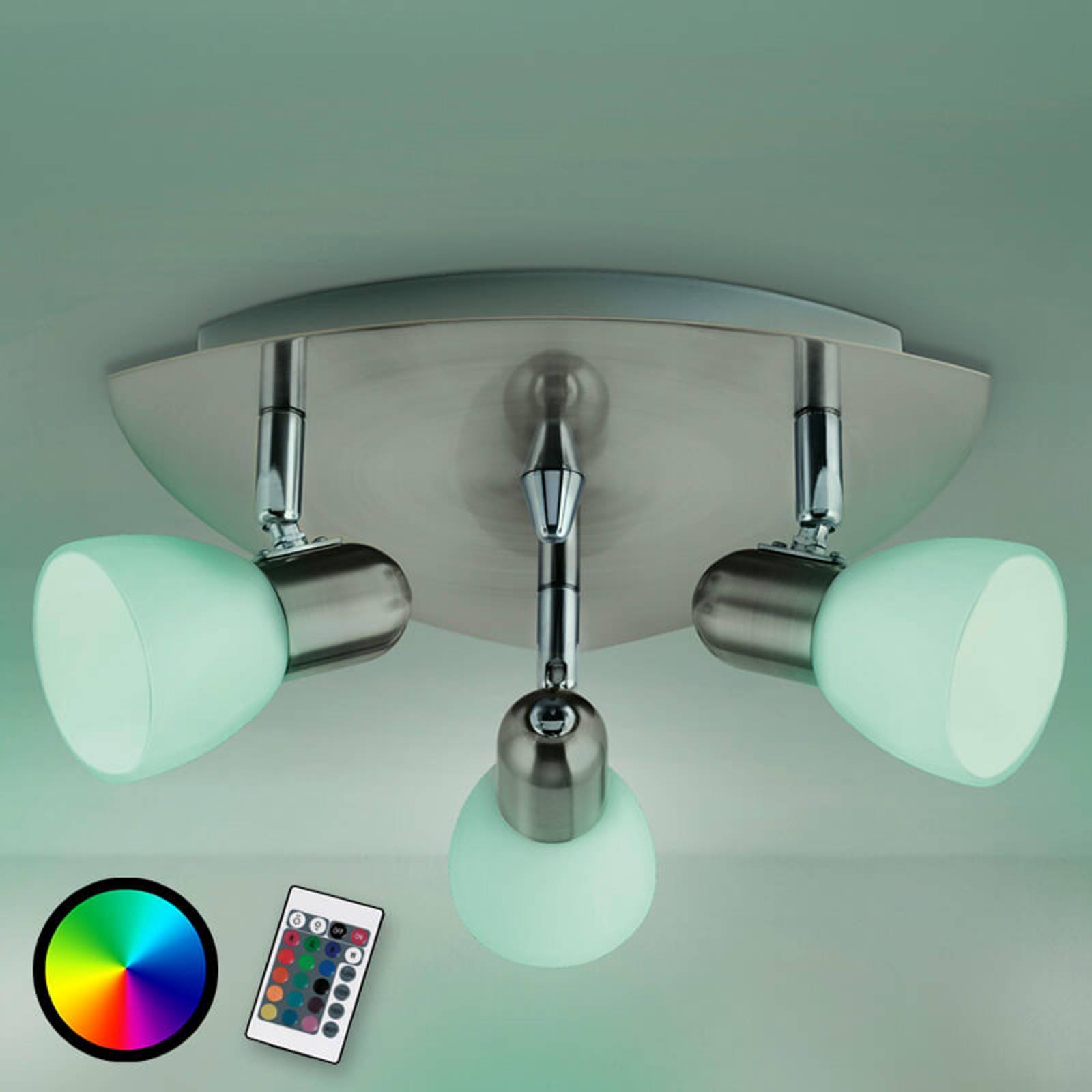 Kolmilamppuinen Enea-C-kattovalaisin, LED RGBW