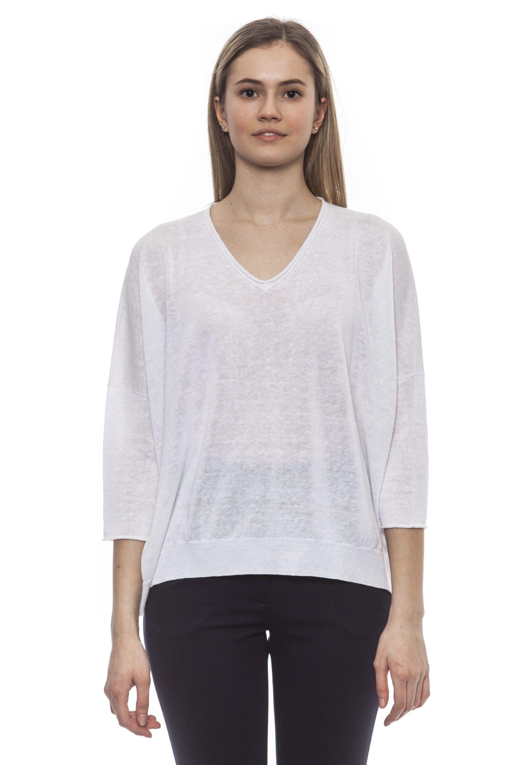 Peserico Women's Bianco Sweater White PE1383114 - IT42 | S