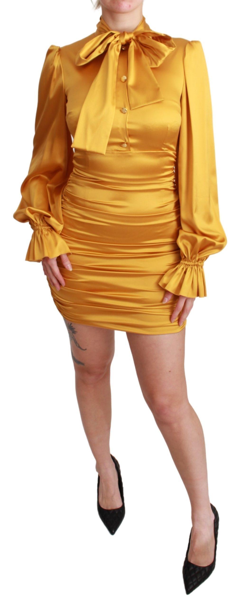 Dolce & Gabbana Women's Silk Stretch Sheath Bodycon Mini Dress Yellow DR2555 - IT40|S