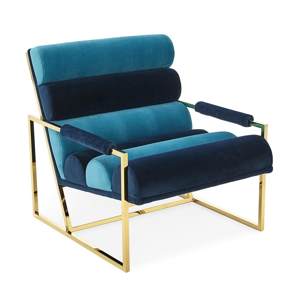 Jonathan Adler I Channeled Goldfinger Lounge Chair I Rialto Navy/ Rialto