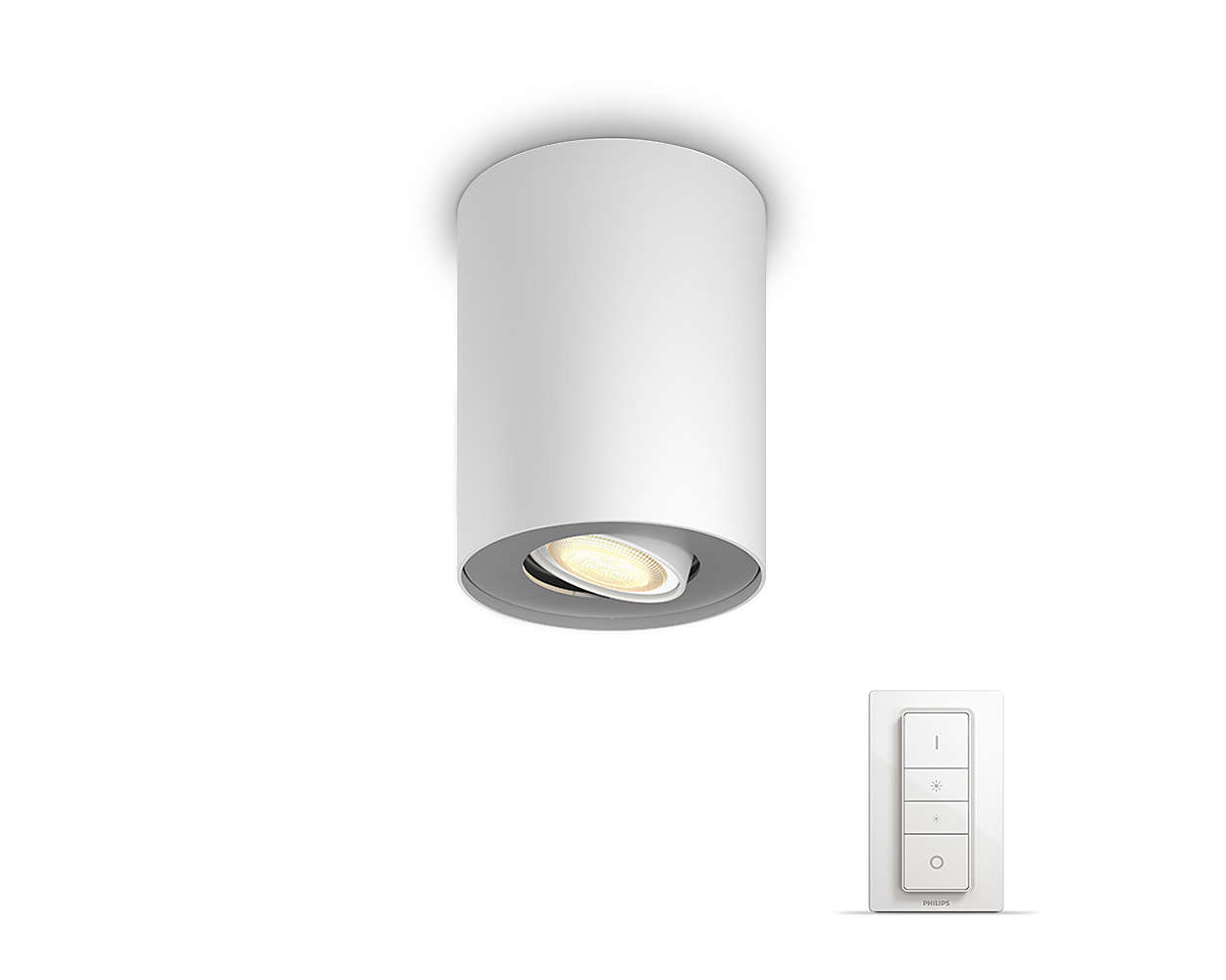 Philips Hue - Pillar Hue single spot white 1x5.5W 230V - White Ambiance With Dimmer Bluetooth