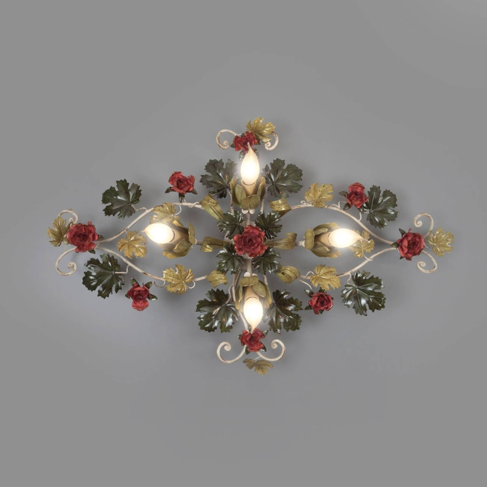 Rosedekorert taklampe Ancona, lengde 87 cm