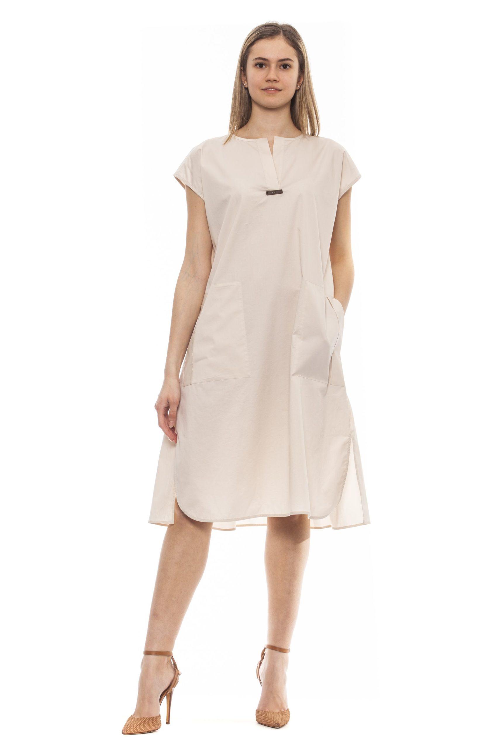 Peserico Women's Bianco Dress Beige PE1383234 - IT42 | S