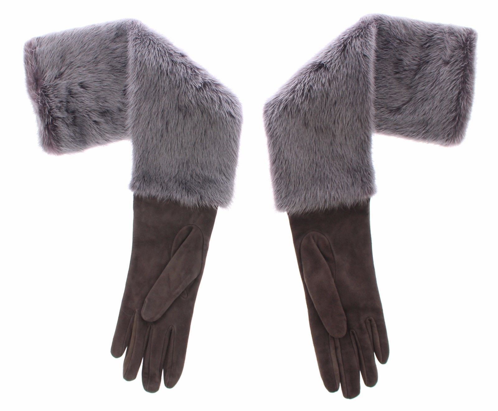 Dolce & Gabbana Women's Mink Fur Lambskin Suede Leather Gloves Gray MOM11434 - 8   M