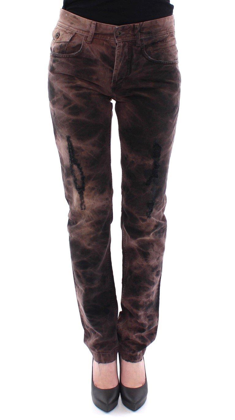 Dolce & Gabbana Women's Cotton Regular Fit STYLISH Jeans Brown NOC10542 - W27