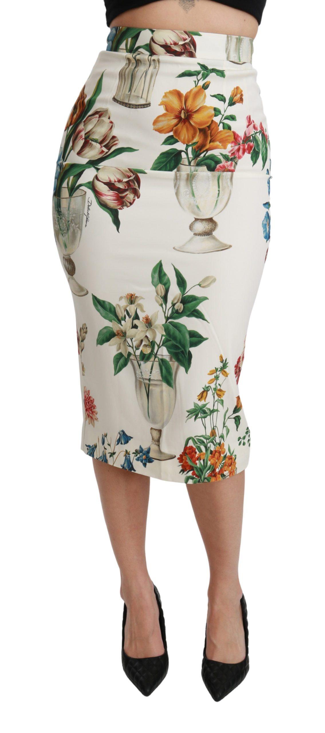 Dolce & Gabbana Women's Silk Stretch Flower Vase Skirt White SKI1434 - IT36 | XS