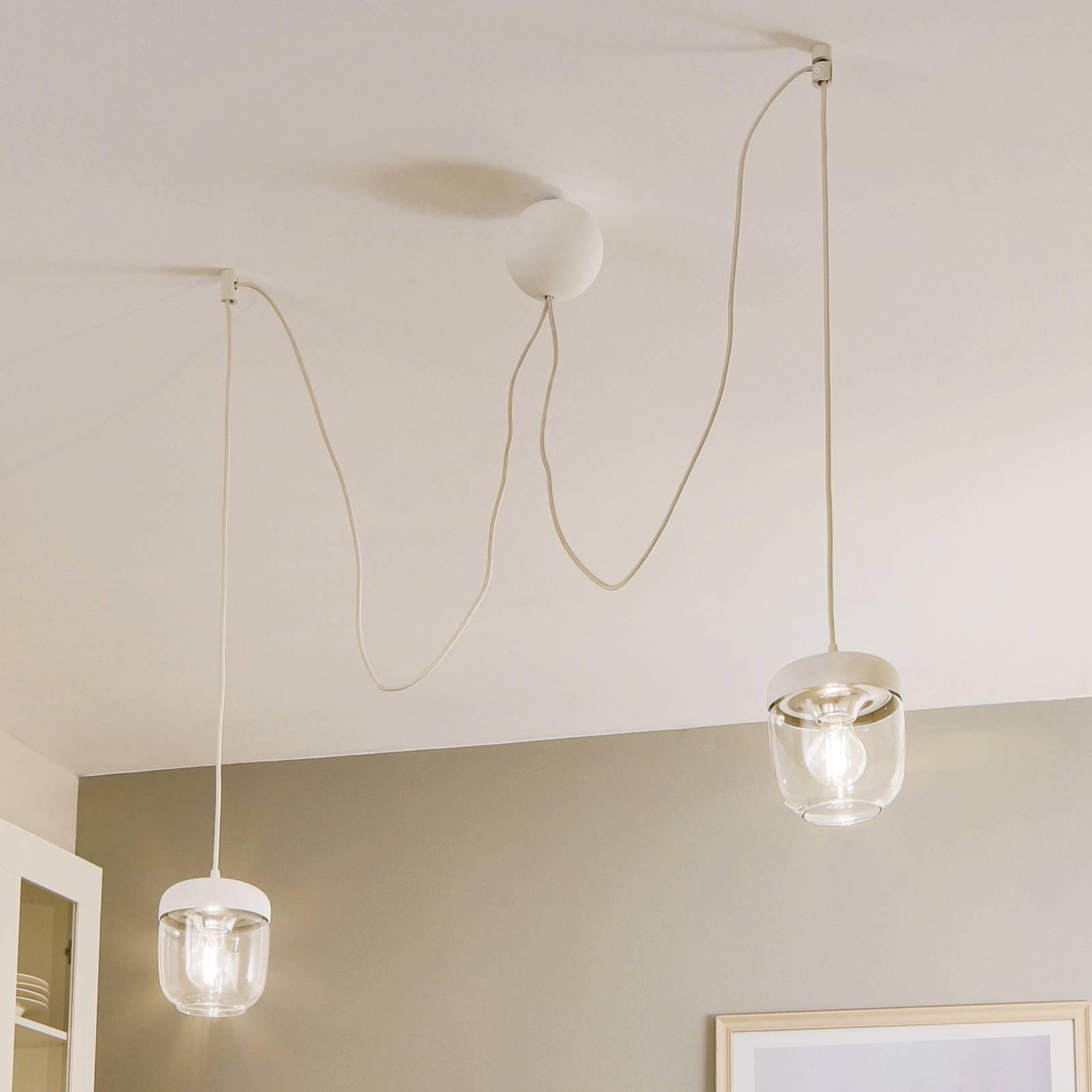 UMAGE Acorn -riippuvalo, valk./teräs, 2-lamppuinen