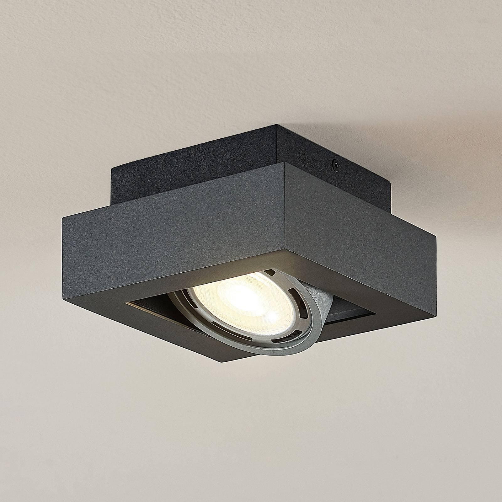 LED-kattospotti Ronka, GU10, 1-lampp., t.harmaa