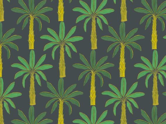 Tropical Wallpaper Sample: Mallard Green-T1902MGS