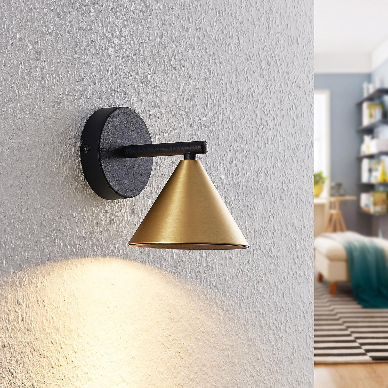Lucande Kartio -seinälamppu 1-lamppuinen, messinki