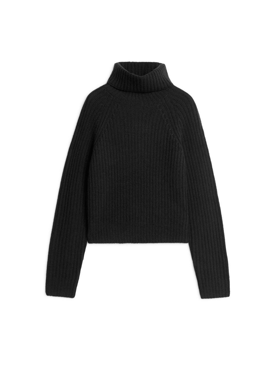 Cashmere Roll-Neck Jumper - Black