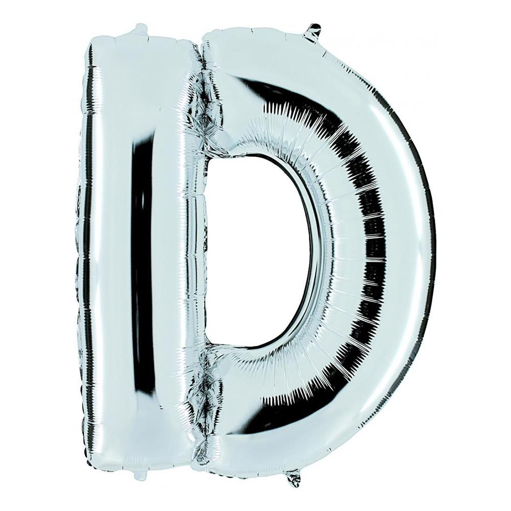 Bokstavsballong Silver - Bokstav D