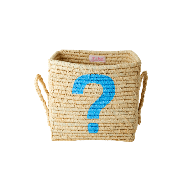 Rice - Small Square Raffia Basket - Blue ?