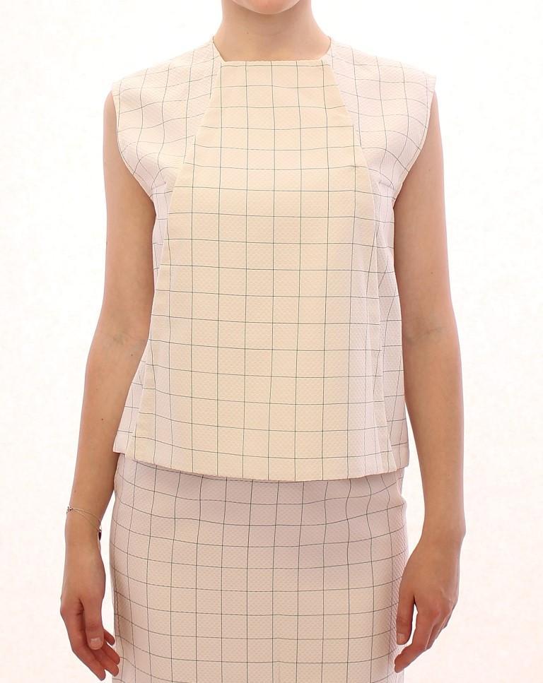 Andrea Incontri Women's Cotton Checkered Top White GSS10710 - IT42|M
