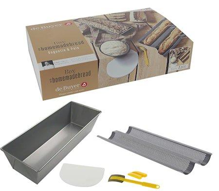 BOX #HOMEMADEBREAD: 2 stk brødformer + deigskrape + brødsigd