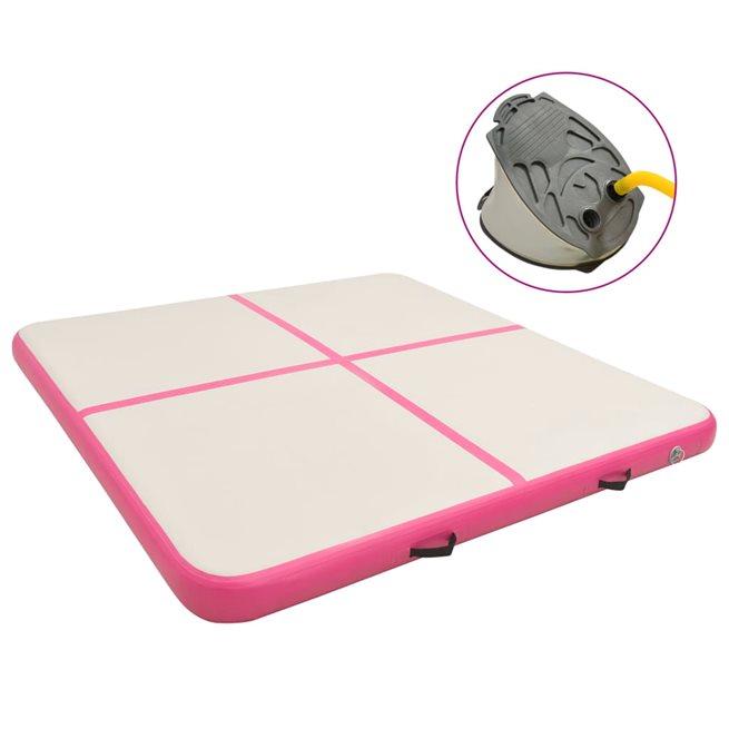 vidaXL Uppblåsbar gymnastikmatta med pump 200x200x15 cm PVC rosa