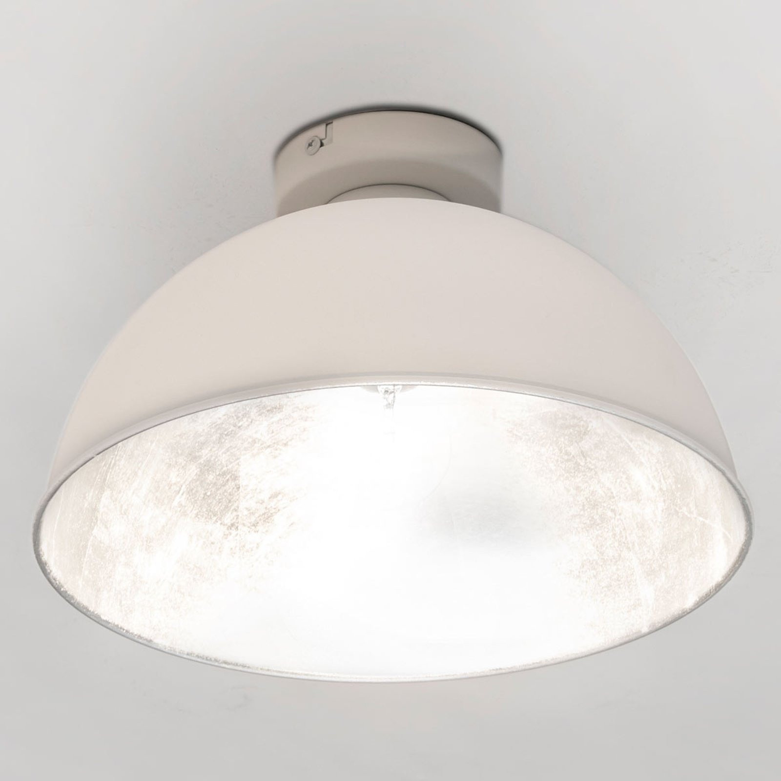 Industriell preget taklampe Jimmy, hvit/sølv
