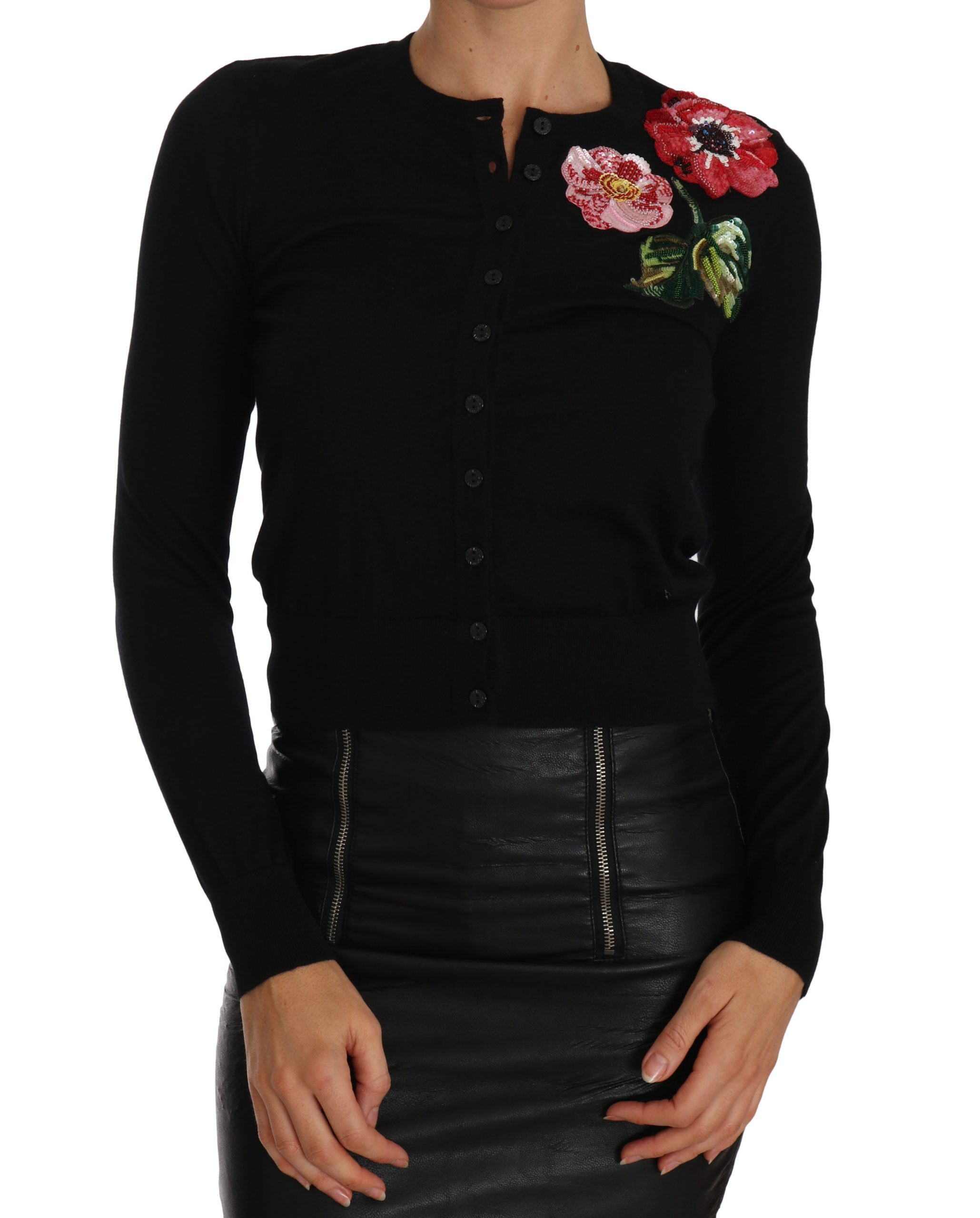 Dolce & Gabbana Women's Floral Embroidered Cardigan Black TSH2301 - IT40 S